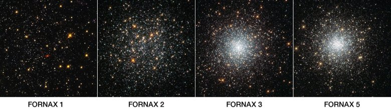 This NASA/ESA Hubble Space Telescope image shows four globular clusters in the dwarf galaxy Fornax. Credit: NASA, ESA, S. Larsen (Radboud University, the Netherlands)