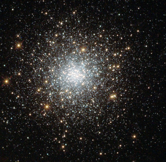 This NASA/ESA Hubble Space Telescope image shows the globular cluster Fornax 5 in the dwarf galaxy Fornax. Credit: NASA, ESA, S. Larsen (Radboud University, the Netherlands)