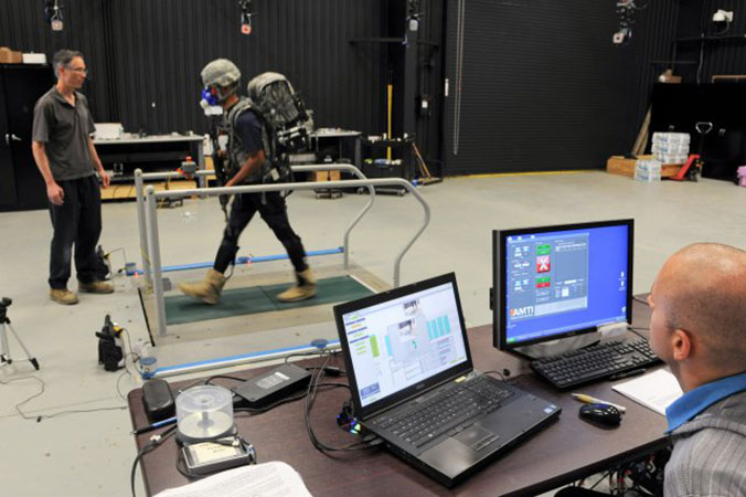 Army researchers evaluate a Defense Advanced Research Projects Agency Warrior Web prototype at the Soldier Performance and Equipment Advanced Research facility, at Aberdeen Proving Ground, Md., Oct. 2, 2014.