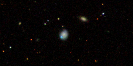 This optical image shows host galaxy, the dwarf galaxy Markarian 177 (centre) and SDSS1133 (blue spot next to it) that lie 90 million light-years away. The galaxy is located in the constellation Ursa Major. (Photo: Sloan Digital Sky Survey)