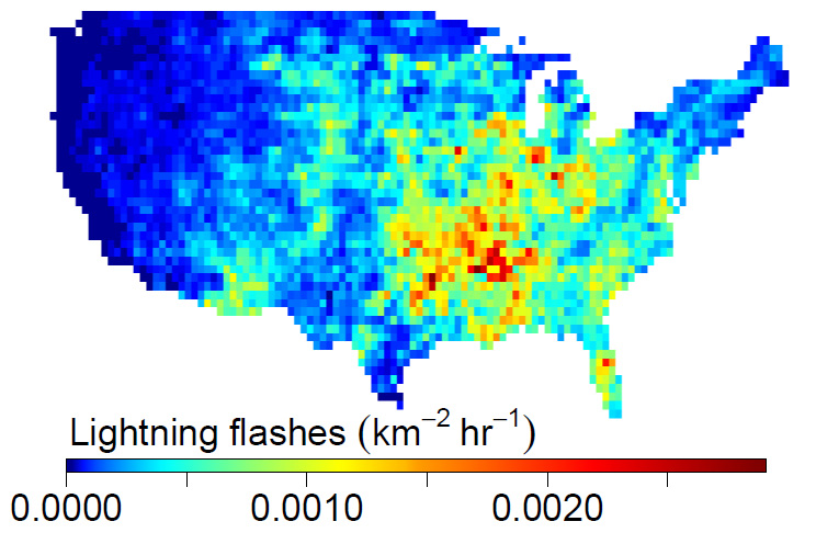 The intensity of lightning flashes averaged over the year in the lower 48 states during 2011. Data from NLDN.