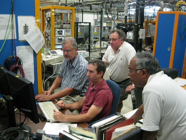 The magnetron project members are, from left: Brian Chase, Ed Cullerton, Ralph Pasquinelli and Philip Varghese. Photo: Elvin Harms, AD