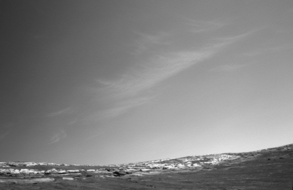 "Clouds above the rim of ""Endurance Crater"", taken by NASA's Mars Exploration Rover Opportunity on the rover's 269th Martian day (Oct. 26, 2004). Image Credit: NASA/JPL"