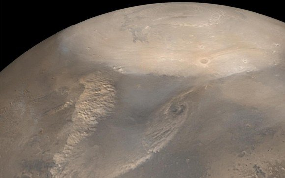 Early Spring Dust Storms at the North Pole of Mars, taken by the Mars Global Surveyor spacecraft in 2002. Image Credit: NASA/JPL/Malin Space Science Systems