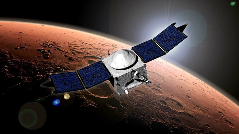 This artist's concept shows NASA's Mars Atmosphere and Volatile Evolution, or MAVEN, spacecraft in orbit around the Red Planet. Image Credit: NASA