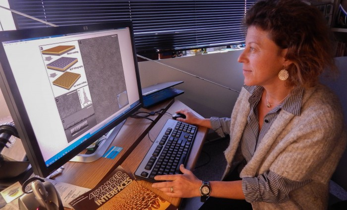Tiziana Bond, an LLNL engineer who is a member of the joint research team, helped developed a cost-effective and more efficient way to manufacture nanoporous metals over many scales, from nanoscale to macroscale, which is visible to the naked eye. Photo by Julie Russell/LLNL