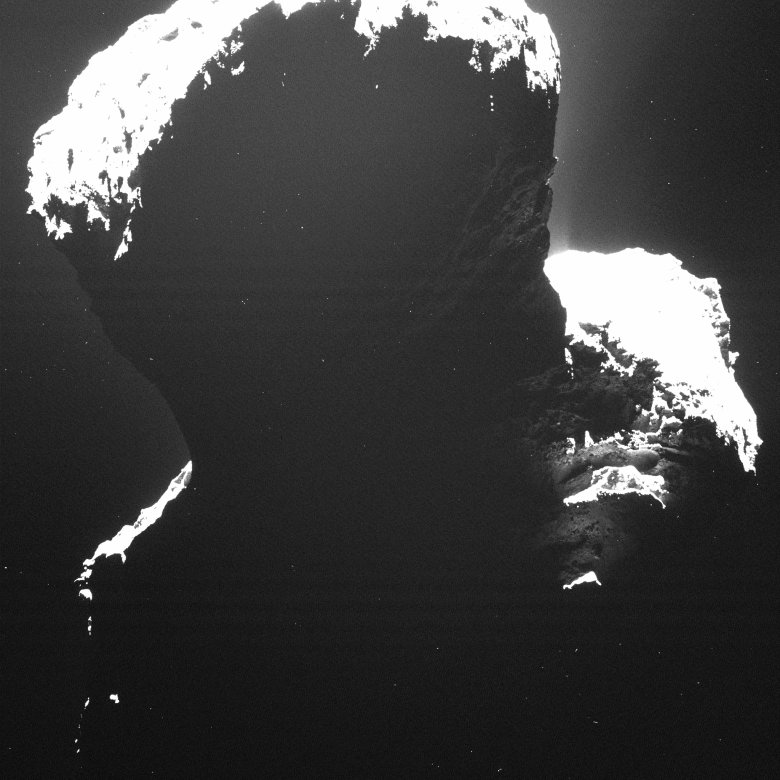 This is a rare glance at the dark side of comet 67P/Churyumov-Gerasimenko. Light backscattered from dust particles in the comet's coma reveals a hint of surface structures. This image was taken by OSIRIS, Rosetta's scientific imaging system, on Sept. 29, 2014. Image Credit: ESA/Rosetta/MPS for OSIRIS Team