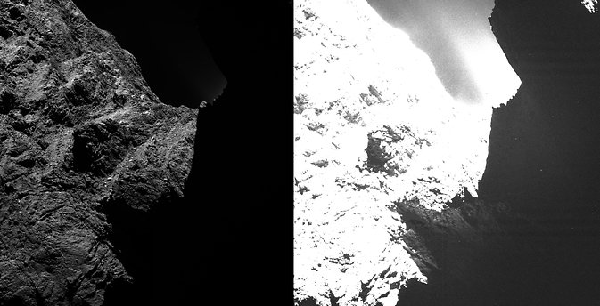 This image of comet 67P/Churyumov-Gerasimenko, from Rosetta's OSIRIS scientific imaging system, shows two saturation levels. In the left image darkness hides the right half; the right image shows some surface structures. Image was taken 10/30/14 from about 18.6 miles (30 kilometers) away. Image Credit: ESA/Rosetta/MPS for OSIRIS Team