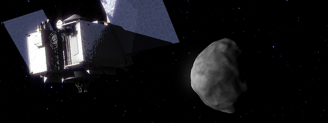 This is an artist's concept of NASA's OSIRIS-REx asteroid-sample-return spacecraft arriving at the asteroid Bennu. Image Credit: NASA's Goddard Space Flight Center Conceptual Image Lab