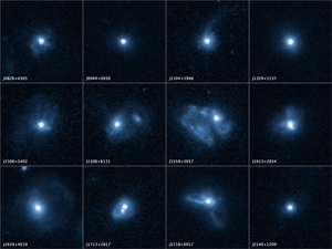 """The 12 galaxies in these Hubble Space Telescope images are undergoing a firestorm of star birth, as shown by their bright white cores. Hubble reveals that the galaxies' star-making frenzy was ignited by mergers with other galaxies. The odd shapes of many of the galaxies are telltale evidence of those close encounters The new Hubble Wide Field Camera 3 observations suggest that energy from the star-birthing frenzy created powerful winds that are blowing out the gas, squelching future generations of stars. This activity occurred when the universe was half its current age of 13.7 billion years. The gas-poor galaxies may eventually become so-called """"red and dead"""" galaxies, composed only of aging stars. The galaxies are the most compact yet found. They contain as much mass as our Milky Way galaxy, but packed into a much smaller area. The smallest galaxies are about 650 light-years across, 1/60th the width of our Milky Way galaxy. The Hubble false-color images were processed to bring out important details in the galaxies. The images were taken in 2010. Credit: NASA, ESA, and P. Sell (Texas Tech University, Lubbock)"""