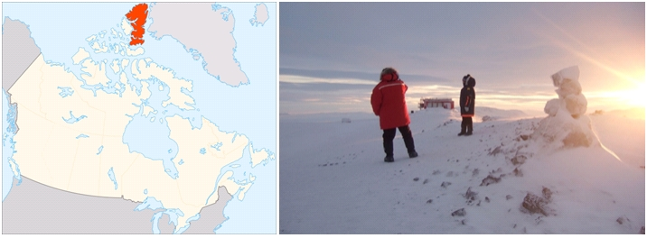 The Polar Environment Atmospheric Research Laboratory (PEARL) is located on Ellesmere Island (image credit: left, wikimedia commons, right, Tobias Kerzenmacher).