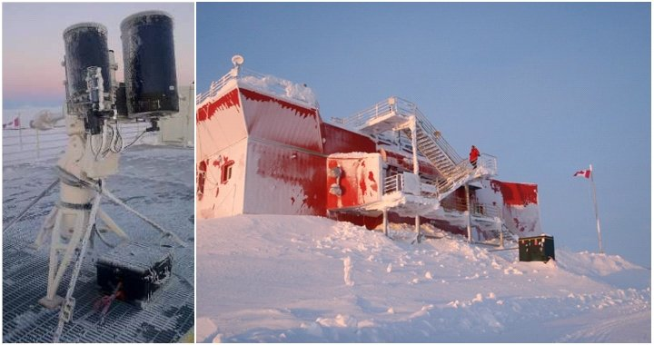 Astronomical observations were obtained from the Polar Environment Atmospheric Research Laboratory (PEARL), which is located in northern Canada (image credit: left, Steinbring et al., right, Dan Weaver).