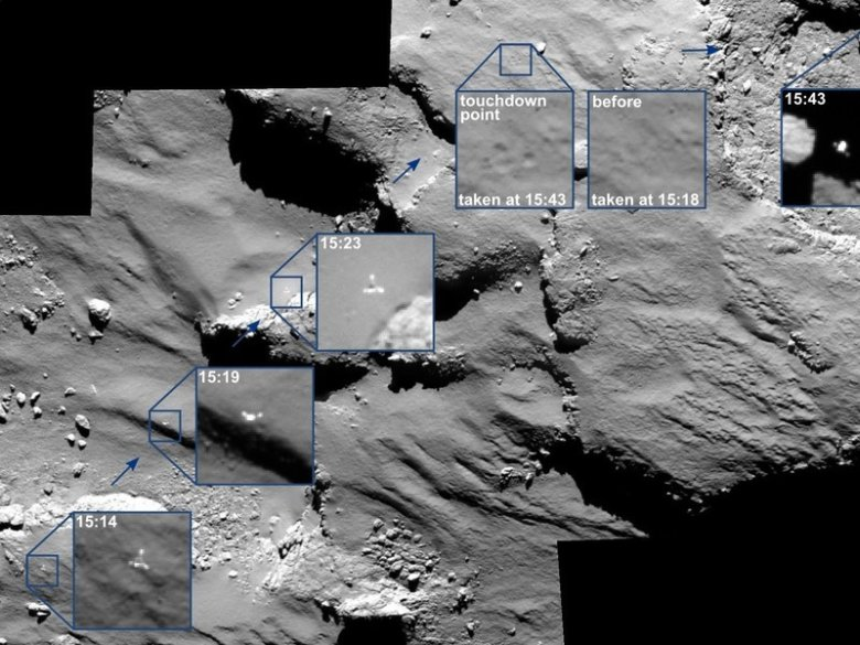 Zoom on Philae: This mosaic consists of four OSIRIS images taken from a distance of good 15 kilometers from the surface of comet 67P / Churyumov-Gerasimenko. The images show Philae approaching its first landing spot, the point of its first touchdown and its onward journey. The insets have a side length of 17 metres each. © ESA/Rosetta/OSIRIS MPS for OSIRIS Team MPS/UPD/LAM/IAA/SSO/INTA/UPM/DASP/IDA