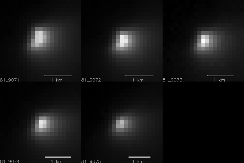 Five images of comet Siding Spring taken within a 35-minute period as it passed near Mars on Oct. 19, 2014, provide information about the size of the comet's nucleus. The images were acquired by the High Resolution Imaging Science Experiment (HiRISE) camera on NASA's Mars Reconnaissance Orbiter. Image Credit: NASA/JPL-Caltech/University of Arizona