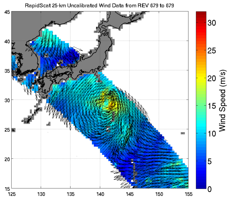 ISS-RapidScat viewed the winds within post-tropical cyclone Nuri as it moved parallel to Japan on Nov. 6, 2014 05:30 UTC. Image Credit: NASA/JPL-Caltech