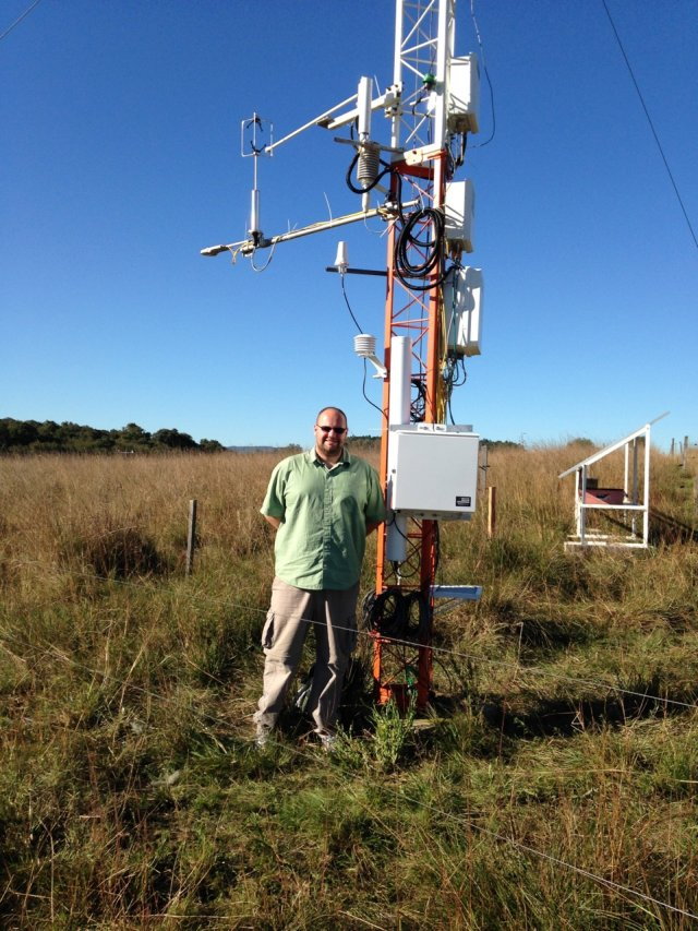 Cosmic-ray soil moisture sensor installed at the Federal University of Santa Maria SulFlux site in Brazil. Credit: Rafael Rosolem