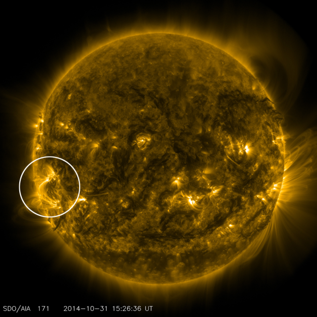 The RAISE mission will focus on an active region — an area of complex and intense magnetic activity — in the sun's atmosphere. The region can be seen in this image from NASA's SDO as the bright, magnetic loops hovering above the sun's surface on the left-hand side just below the mid-line. Image Credit: NASA/SDO