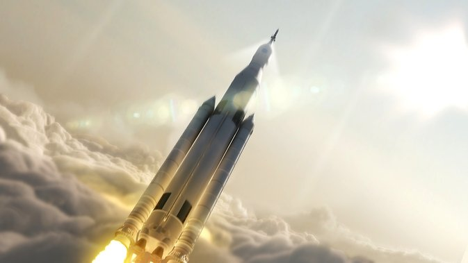This artist concept depicts NASA's Space Launch System, which will be the most powerful rocket ever built. It is designed to boost the agency's Orion spacecraft on deep space missions, including to an asteroid and, ultimately, to Mars. Image Credit: NASA/Marshall Space Flight Center