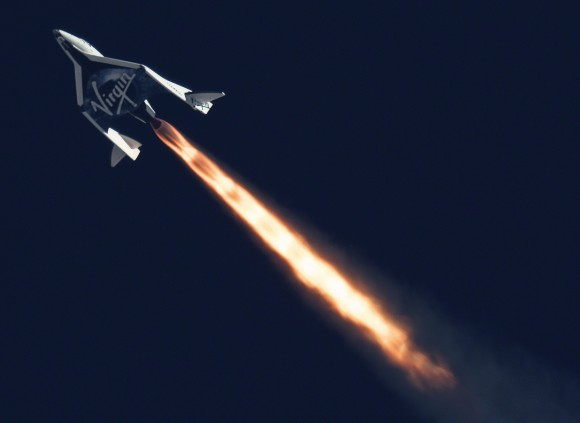 SpaceShipTwo, SS Enterprise, as seen during its second powered test flight, Septemer 5, 2013. (Photo Credit: Virgin Galactic)