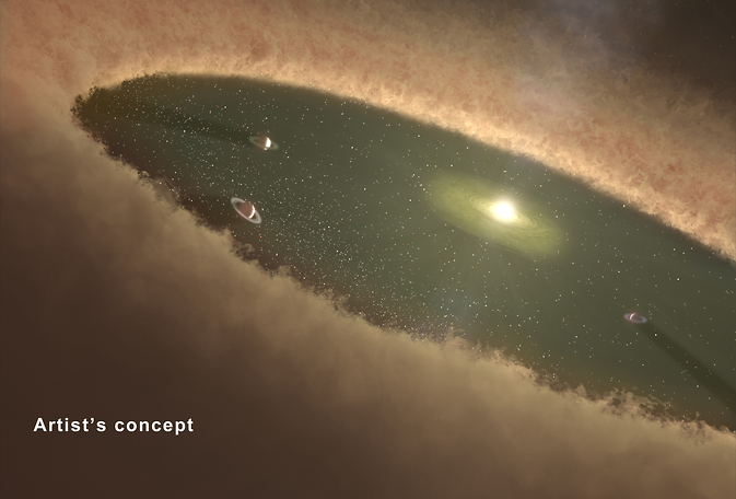 This artist's concept depicts giant planets circling between belts of dust. Scientists think the star system HD 95068 may have a planetary architecture similar to this. While the star system's two dust belts are known, along with one massive planet, more giant planets may lurk unseen. Image Credit: NASA/JPL-Caltech