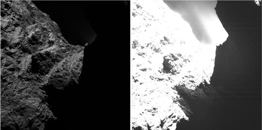 An image of comet 67P/Churyumov-Gerasimenko obtained on October 30th, 2014 by the OSIRIS scientific imaging system from a distance of approximately 30 kilometers and displayed with two different saturation levels. While in the left image the right half is obscured by darkness, in the right image surface structures become visible. ESA/Rosetta/MPS for OSIRIS Team MPS/UPD/LAM/IAA/SSO/INTA/UPM/DASP/IDA