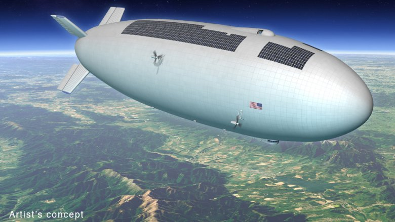 Artist's concept for a high-altitude, long-duration airship that could be used as a research platform or for commercial purposes. Image credit: Mike Hughes (Eagre Interactive)/Keck Institute for Space Studies