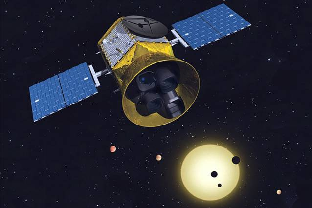 Conceptual image of TESS, the Transiting Exoplanet Survey Satellite. Image: MIT Kavli Institute for Astrophysics and Space Research