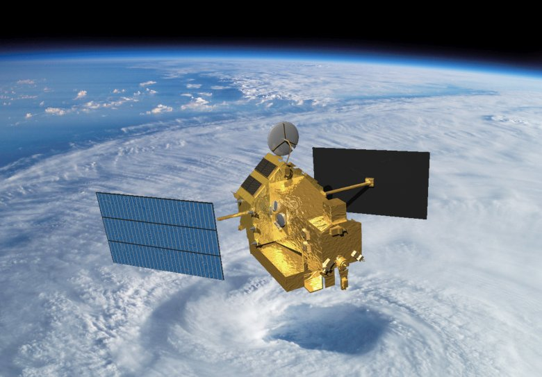Artist concept of TRMM in space over the eye of a tropical cyclone. Image Credit: NASA