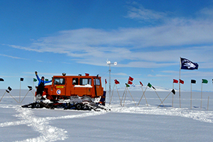 University of Nevada, Reno and College of Science Foundation Professor Scott Tyler journeyed to the Ross Ice Shelf in Antarctica to record temperatures at the interface of the bottom of the ice shelf and the frigid ocean 200 meters below the surface.