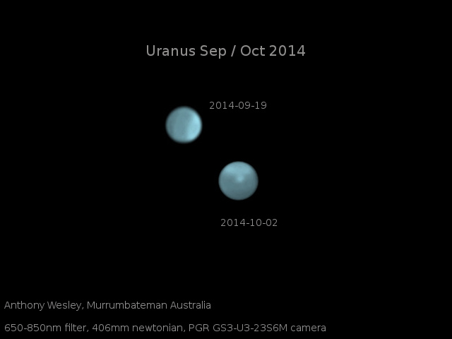 Optical images of Uranus on Sept. 19 and Oct. 2, showing the dramatic appearance of a bright storm on a planet that normally displays only a diffuse bright polar region. Courtesy of amateur astronomer Anthony Wesley, Murrumbateman, Australia.