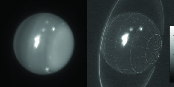 Infrared images of Uranus showing storms at 1.6 and 2.2 microns obtained Aug. 6, 2014 by the 10-meter Keck telescope. Credit: Imke de Pater (UC Berkeley) & Keck Observatory images.