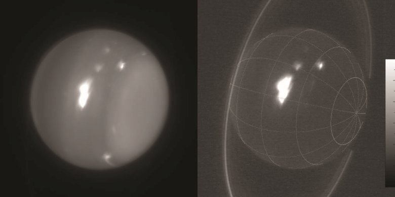 Infrared images of Uranus (1.6 and 2.2 microns) obtained on Aug. 6, 2014, with adaptive optics on the 10-meter Keck telescope. The white spot is an extremely large storm that was brighter than any feature ever recorded on the planet in the 2.2-micron band. The cloud rotating into view at the lower-right limb grew into the large storm that was seen by amateur astronomers at visible wavelengths. Imke de Pater (UC Berkeley) & Keck Observatory images.