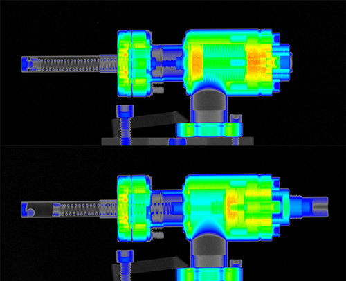 Neutron radiographs of the spring-transport mechanism taken at the NIST Neutron Imaging Facility. Top: Valve closed. The mechanism captures the rotor in the thimble. Bottom: Valve open.
