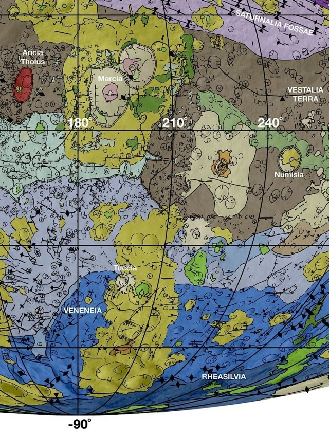 In this detail from the new geological map of Vesta, brown colors represent the oldest, most heavily cratered surface. Purple colors and light blue represent terrains modified by the Veneneia and Rheasilvia impacts, respectively. Light purples and dark blue colors below the equator represent the interior of the Rheasilvia and Veneneia basins. Greens and yellows represent relatively young landslides or other downhill movement and crater impact materials, respectively. Tectonic features such as faults are shown by black lines. Photo by: NASA/JPL-Caltech/Arizona State University