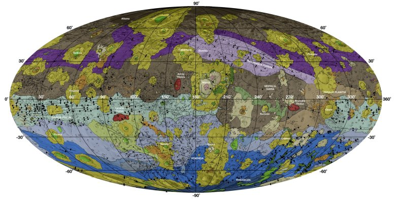 The global geological map unifies 15 individual quadrangle maps. It uses a Mollweide projection centered on 180 degrees longitude using the Dawn Claudia coordinate system. Photo by: NASA/JPL-Caltech/Arizona State University