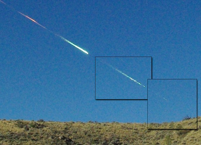 Lisa Warren of Reno, Nevada, took these three photographs of the Sutter's Mill meteoroid in flight at Rancho Haven, using a hand-held Pentax K200D, f = 18 mm, digital SLR camera. The orange glow persists from the main 48-km high breakup event. Image Credit: L. Warren; composite by P. Jenniskens/NASA Ames/SETI