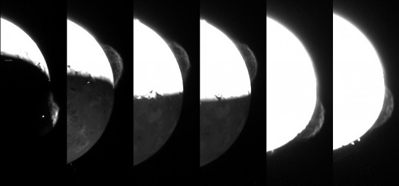 In February and March 2007, a huge plume erupted from the Tvashtar volcano on Jupiter's moon Io. The image sequence taken by New Horizons showed the largest such explosion then viewed by a spacecraft — even accounting for the Galileo spacecraft that examined Io between 1996 and 2001. Credit: NASA/Johns Hopkins University Applied Physics Laboratory/Southwest Research Institute