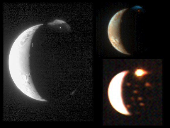 An eruption from the Tvashtar volcano on Io, Jupiter's moon, in several different wavelength images taken by the New Horizons spacecraft in 2007. The left image from the Long Range Reconnaissance Imager (LORRI) shows lava glowing in the night. At top right, the Multispectral Visible Imaging Camera (MVIC) spotted sulfur and sulfor dioxide deposits on the sunny side of Io. The remaining image from the Linear Etalon Imaging Spectral Array (LEISA) shows volcanic hotspots on Io's surface. Credit: NASA/Johns Hopkins University Applied Physics Laboratory/Southwest Research Institute