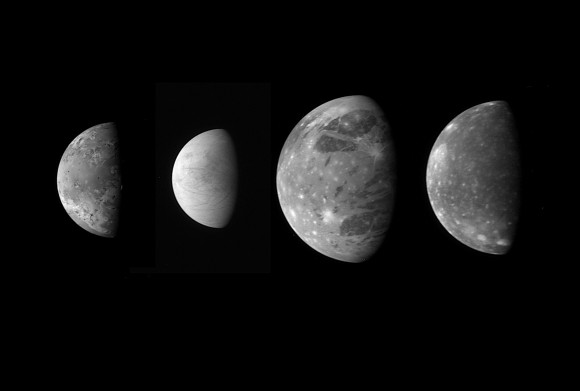 """A """"family portrait"""" of the four Galilean satellites around Jupiter taken by the New Horizons spacecraft and released in 2007. From left, the montage includes Io, Europa, Ganymede and Callisto. Credit: NASA/Johns Hopkins University Applied Physics Laboratory/Southwest Research Institute"""