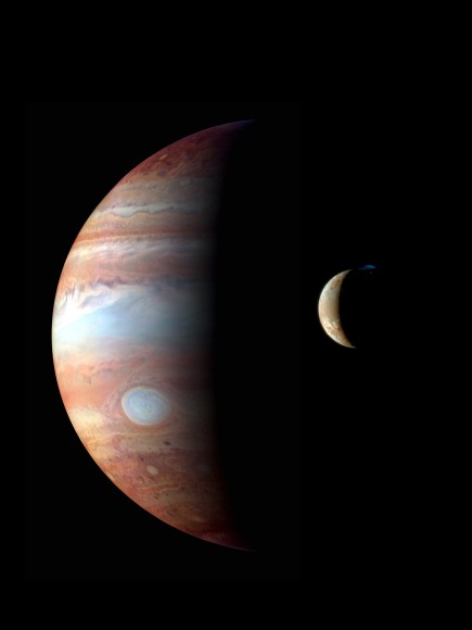 A montage of images taken of Jupiter and its moon Io (foreground) by the New Horizons mission in 2007. Jupiter is shown in infrared wavelengths while Io is close to true-color. On top of Io is an eruption from the volcano Tvashtar. Credit: NASA/Johns Hopkins University Applied Physics Laboratory/Southwest Research Institute
