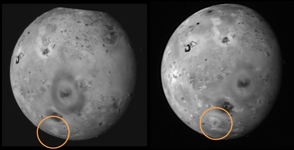 The New Horizons flyby of Io in 2007 (right) revealed a changing feature on the surface of the Jupiter moon since Galileo's image of 1999 (left.) Inside the circle, a new volcanic eruption spewed material; other pictures showed this region was still active. Credit: NASA/Johns Hopkins University Applied Physics Laboratory/Southwest Research Institute