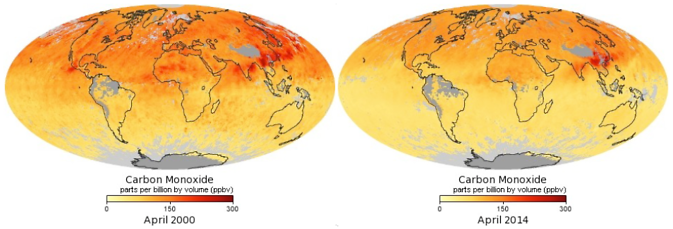 MOPITT's monthly average of global concentrations of tropospheric carbon monoxide at an altitude of about 12,000 feet, in April 2000 (left) and April 2014. Image Credit: NASA's Earth Observatory