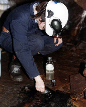 sampling fracture waters more than one kilometre underground in the Canadian Shield; photo by Barbara Sherwood Lollar.