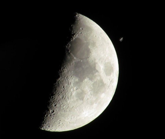The International Space Station is seen just before is passes in front of the Moon on Dec. 28, 2014, seen from Ganot, Israel. Credit and copyright: Gadi Eidelheit.