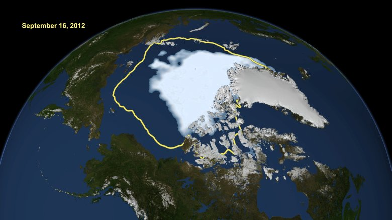 Satellite data reveal how the new record low Arctic sea ice extent, from Sept. 16, 2012, compares to the average minimum extent over the past 30 years (in yellow) Image: NASA