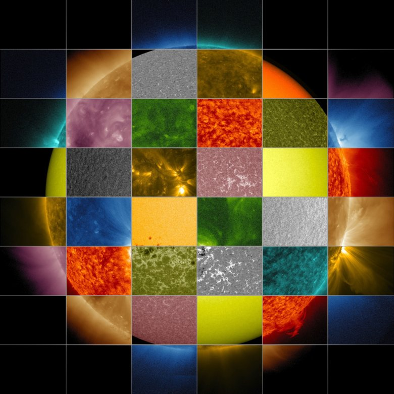 A mosaic of images through different filters on NASA's Solar Dynamics Observatory. Image credit: NASA/SDO/Goddard Space Flight Center