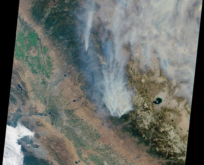 Smoke plume from California's Rim Fire, Aug. 23, 2013. Image Credit: NASA/Goddard/Langley/JPL, MISR Team