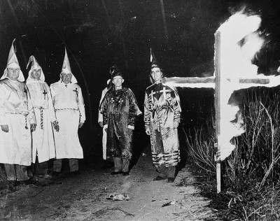 Picture: Klansmen in robes with burning cross. Source: Flickr