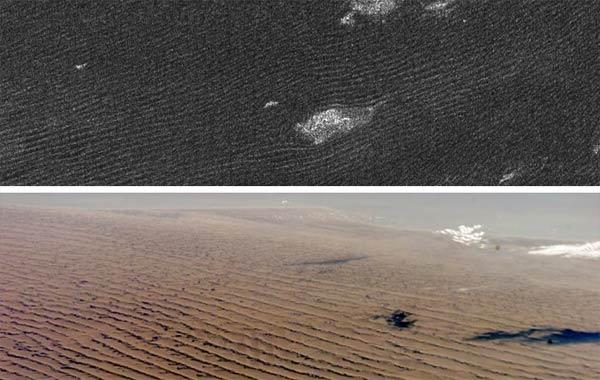Cassini radar sees sand dunes on Saturn's giant moon Titan (upper photo) that are sculpted like Namibian sand dunes on Earth (lower photo). The bright features in the upper radar photo are not clouds but topographic features among the dunes. Credit: NASA