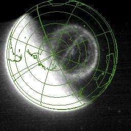 The theta aurora as seen by NASA's IMAGE satellite on Sept. 15, 2005. The green lines show latitude and longitude lines and the outlines of the continents; Australia is to the right, South America is to the left and Antarctica is in the middle. The theta aurora is seen slightly off-center, above the right-hand side of Antarctica in this orientation, its characteristic shape defined by the 'bar' connecting the auroral oval. The bright region to the left is 'day glow' (the sunlit atmosphere). Credit: NASA/R. Fear et al (2014)